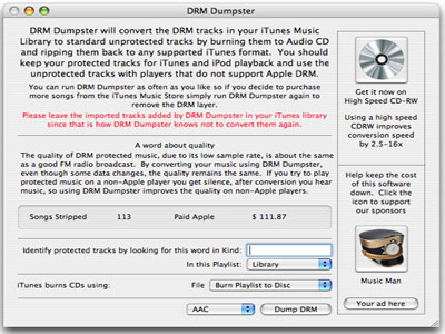 Convert DRM protected music to MP3, AAC, etc.  Legal way to remove DRM